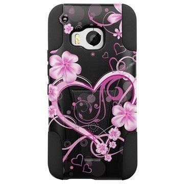 HTC One M9 Beyond Cell Hyber Shell Design Kotelo Sydämet Valkoinen Rosy