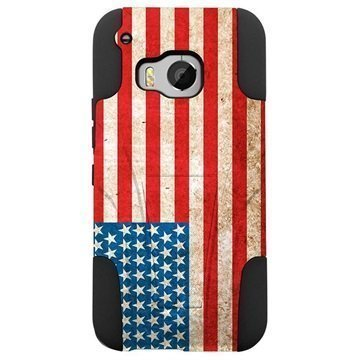 HTC One M9 Beyond Cell Hyber Shell Design Kotelo Vintage American Flag