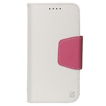 HTC One M9 Beyond Cell Infolio Lompakkokotelo Valkoinen / Pinkki