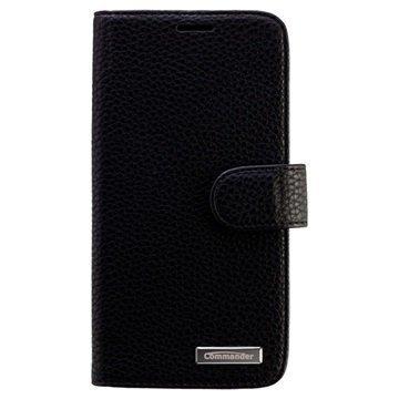 HTC One M9 Commander Book Elite Läpällinen Nahkakotelo Musta