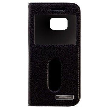 HTC One M9 Commander Kaksoisikkuna Läpällinen Nahkakotelo Musta
