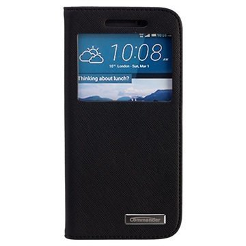 HTC One M9 Commander Window Cross Läpällinen Nahkakotelo Musta