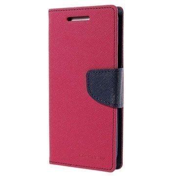HTC One M9 Mercury Goospery Fancy Diary Lompakkokotelo Kuuma Pinkki / Musta