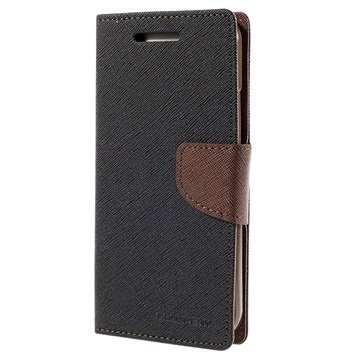 HTC One M9 Mercury Goospery Fancy Diary Lompakkokotelo Musta / Ruskea