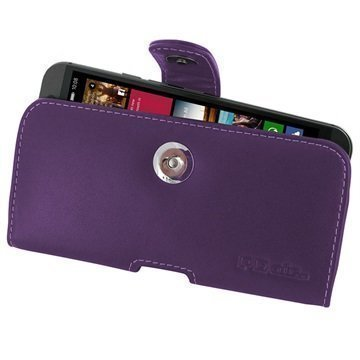 HTC One M9 PDair Vaakakotelo Nahka Violetti