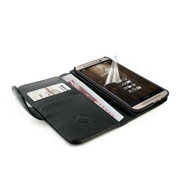 HTC One M9 Tuff-luv Vintage Lompakkomallinen Nahkakotelo Musta