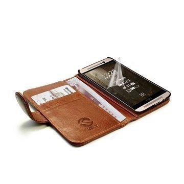 HTC One M9 Tuff-luv Vintage Lompakkomallinen Nahkakotelo Ruskea