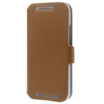HTC One Mini 2 Doormoon Wallet Nahkakotelo Ruskea