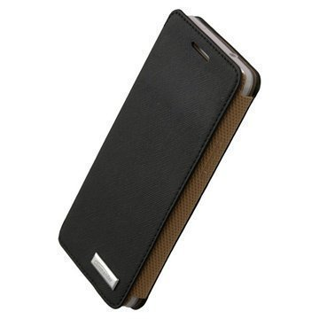 HTC One Mini Commander Slim Book Premium Cross Leather Case Black