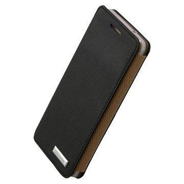 HTC One Mini Commander Slim Book Premium Cross Leather Case Black