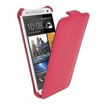 HTC One Mini iGadgitz Läpällinen Nahkakotelo Pinkki