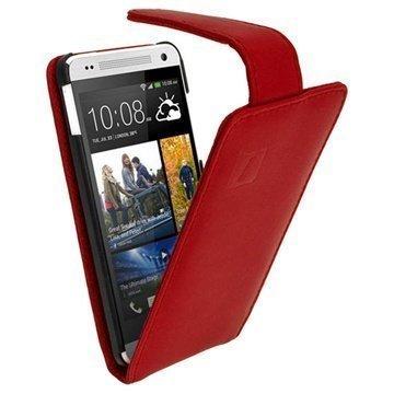 HTC One Mini iGadgitz Läpällinen Nahkakotelo Punainen