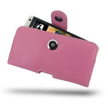 HTC One PDair Vaakakotelo Nahka Vaaleanpunainen
