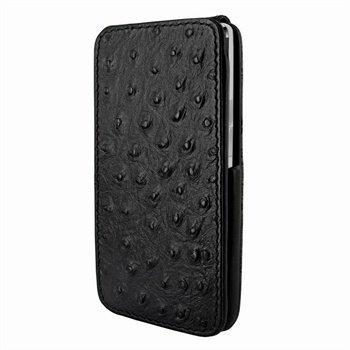 HTC One Piel Frama iMagnum Nahkakotelo Strutsi Musta