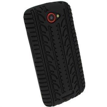 HTC One S iGadgitz Rengaskuvioitu Silikonikotelo Musta
