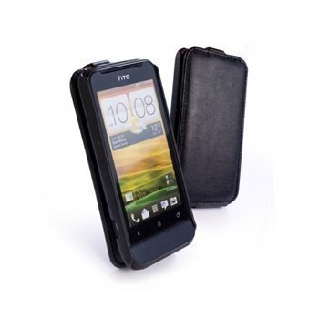 HTC One V Tuff-Luv Tuff-Grip Leather Case Black