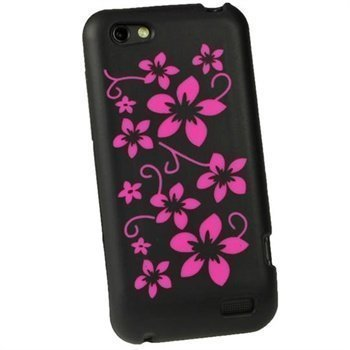 HTC One V iGadgitz Flowers Silicone Case Black / Pink