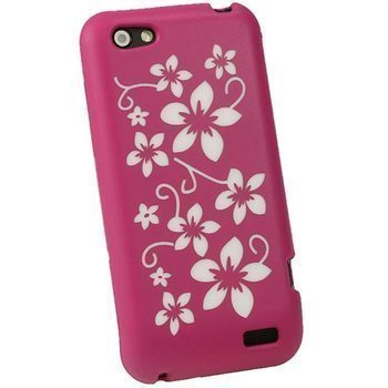 HTC One V iGadgitz Flowers Silicone Case Pink / White