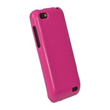 HTC One V iGadgitz Glossy Durable TPU-Napsautuskuori Kuuma Pinkki