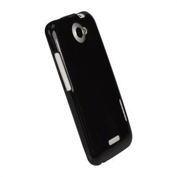 HTC One X One X iGadgitz Glossy Durable TPU Napsautuskuori Musta