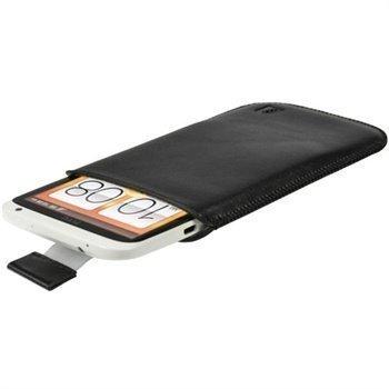 HTC One X One X + iGadgitz Nahkakotelo Musta