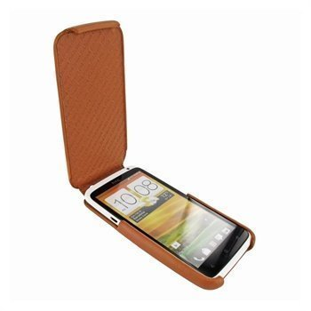 HTC One X Piel Frama iMagnum2 Nahkakotelo Keltaisenruskea