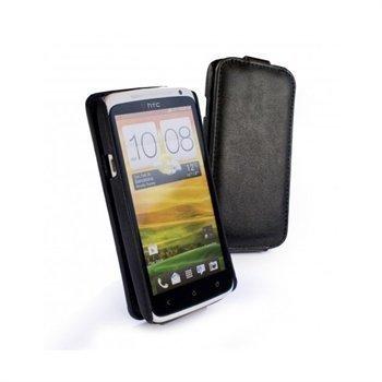 HTC One X Tuff-Luv Tuff-Grip Nahkakotelo Musta