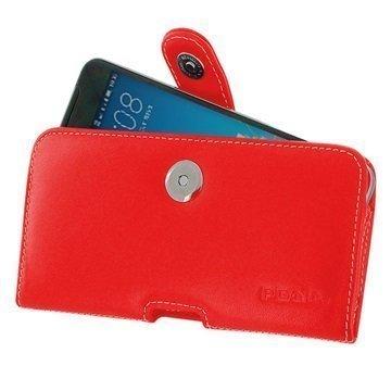 HTC One X9 PDair Vaakasuuntainen Nahkakotelo Punainen