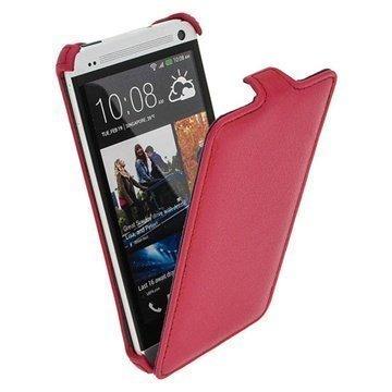 HTC One iGadgitz Läpällinen Nahkakotelo Pinkki
