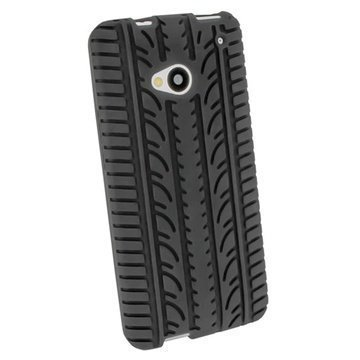 HTC One iGadgitz Tyre Tread Design Silicone Case Black