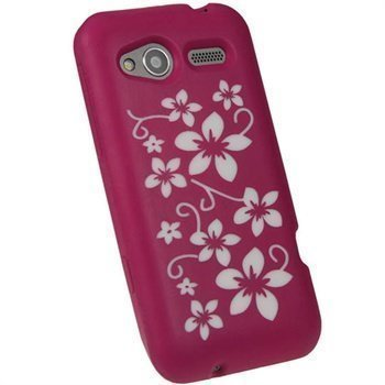 HTC Radar iGadgitz Flowers Silicone Case Pink / White