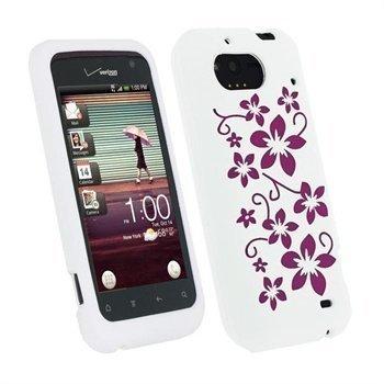 HTC Rhyme iGadgitz Flowers Silikonikuori Valkoinen / Vaaleanpunainen