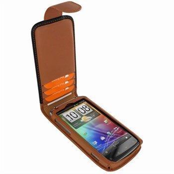 HTC Sensation Piel Frama Classic Magnetic Nahkakotelo Musta / Parkittunahka