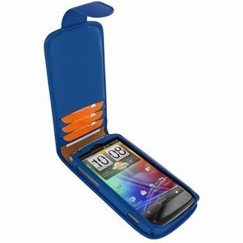 HTC Sensation Piel Frama Classic Magnetic Nahkakotelo Sininen