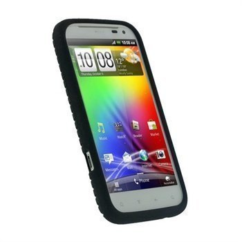 HTC Sensation XL iGadgitz Silikonisuojus Rengaspinnoite Musta