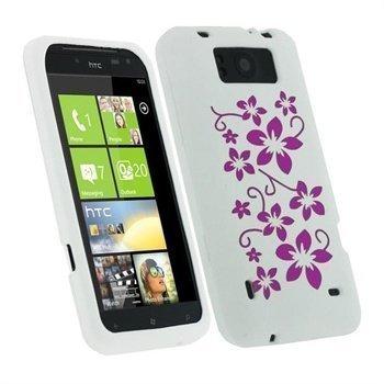 HTC Titan iGadgitz Flowers Silikonikuori Valkoinen / Vaaleanpunainen