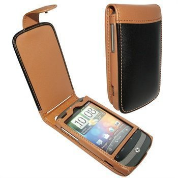 HTC Wildfire Piel Frama Classic Snap Nahkakotelo Musta / Parkittunahka