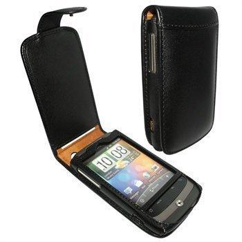 HTC Wildfire Piel Frama Classic Snap Nahkakotelo Musta