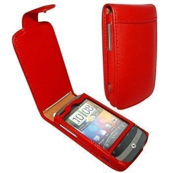 HTC Wildfire Piel Frama Classic Snap Nahkakotelo Punainen
