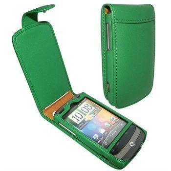 HTC Wildfire Piel Frama Classic Snap Nahkakotelo Vihreä