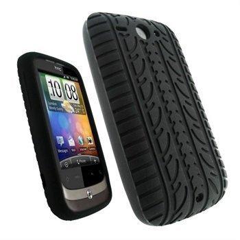 HTC Wildfire iGadgitz Rengaskuvioinen Silikonikotelo Musta