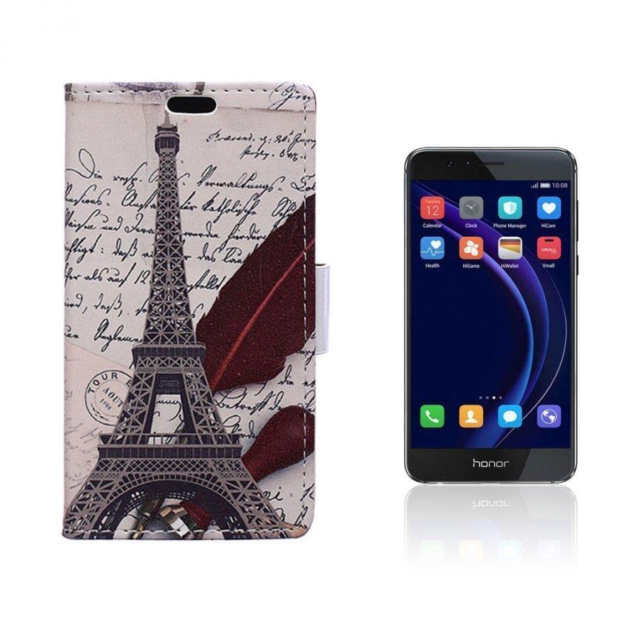 Hagerup Huawei Honor 8 Nahkakotelo Lompakko Eiffel Torni Ja Kirjoitus