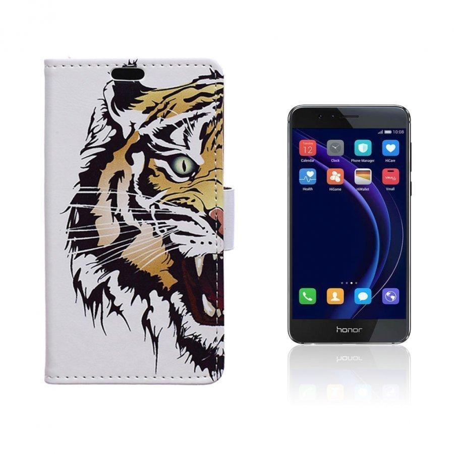 Hagerup Huawei Honor 8 Nahkakotelo Lompakko Hurja Tiikeri