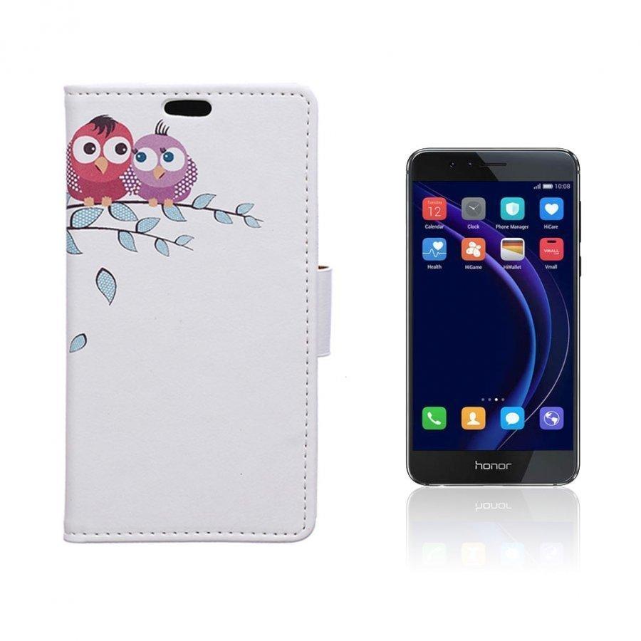 Hagerup Huawei Honor 8 Nahkakotelo Lompakko Kaksi Pöllöä Puun Oksalla