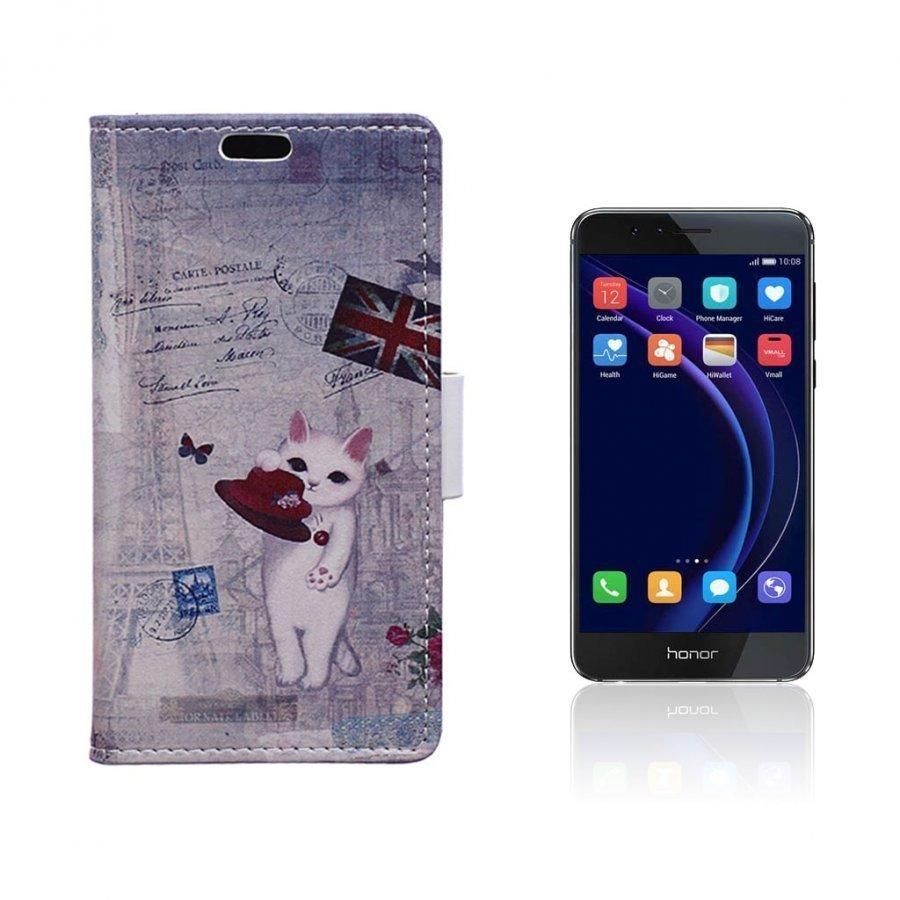 Hagerup Huawei Honor 8 Nahkakotelo Lompakko Kissa