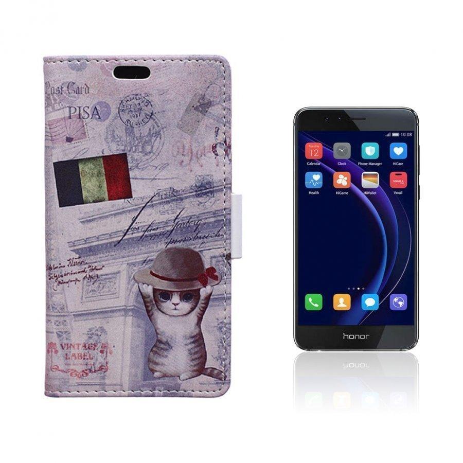 Hagerup Huawei Honor 8 Nahkakotelo Lompakko Kissa Hatussa Ja Ranskan Lippu