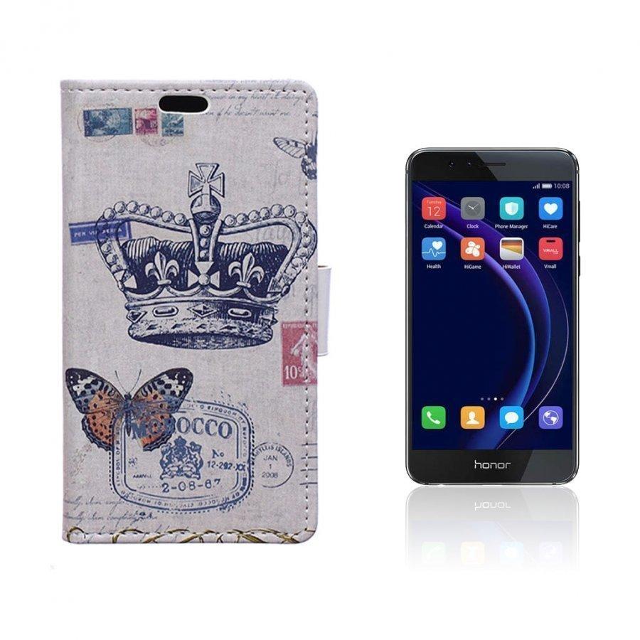 Hagerup Huawei Honor 8 Nahkakotelo Lompakko Kruunu Ja Perhonen