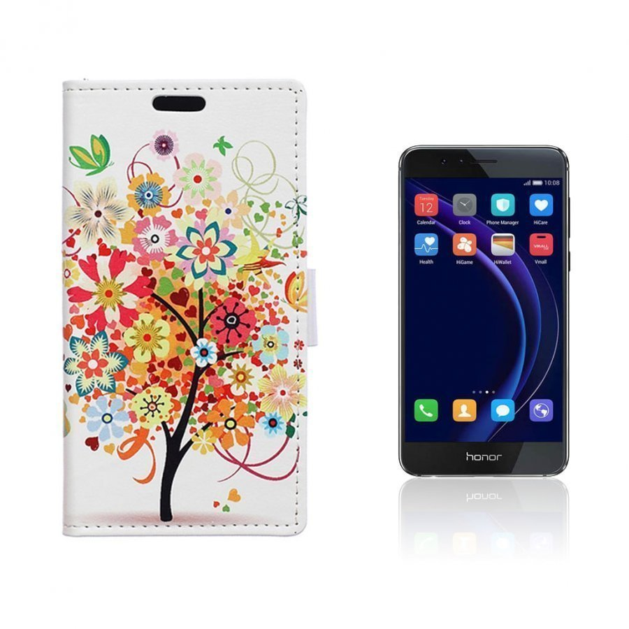 Hagerup Huawei Honor 8 Nahkakotelo Lompakko Kukkiva Puu