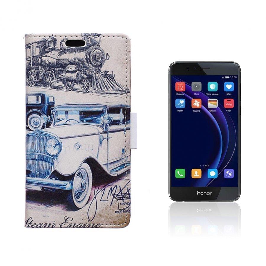 Hagerup Huawei Honor 8 Nahkakotelo Lompakko Retro Auto
