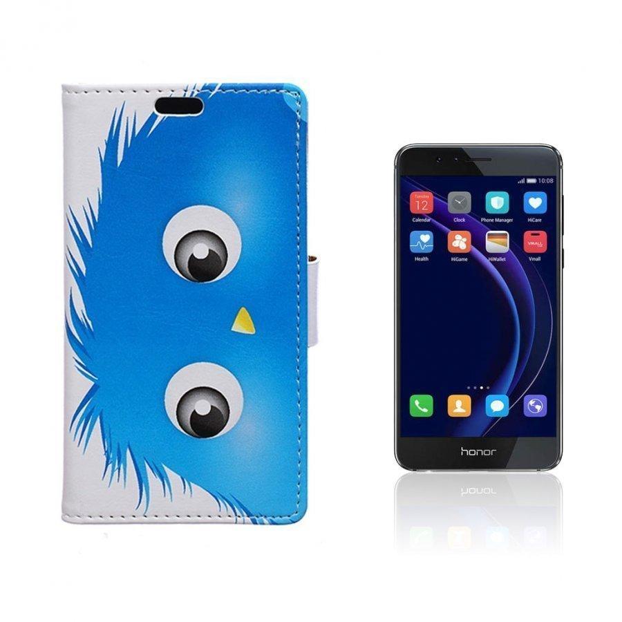 Hagerup Huawei Honor 8 Nahkakotelo Lompakko Sininen Karvainen Nukke